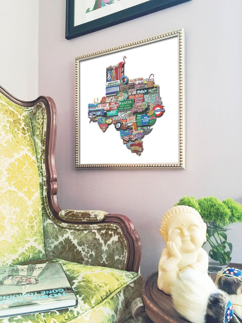 Austin | Texas Shaped Photomontage Print