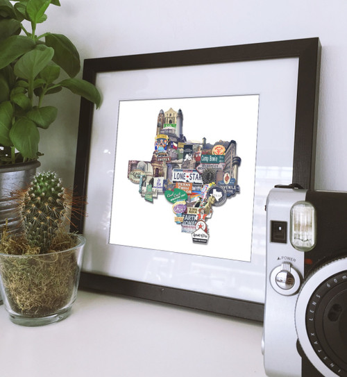 Texas | Texas Shaped Photomontage Print
