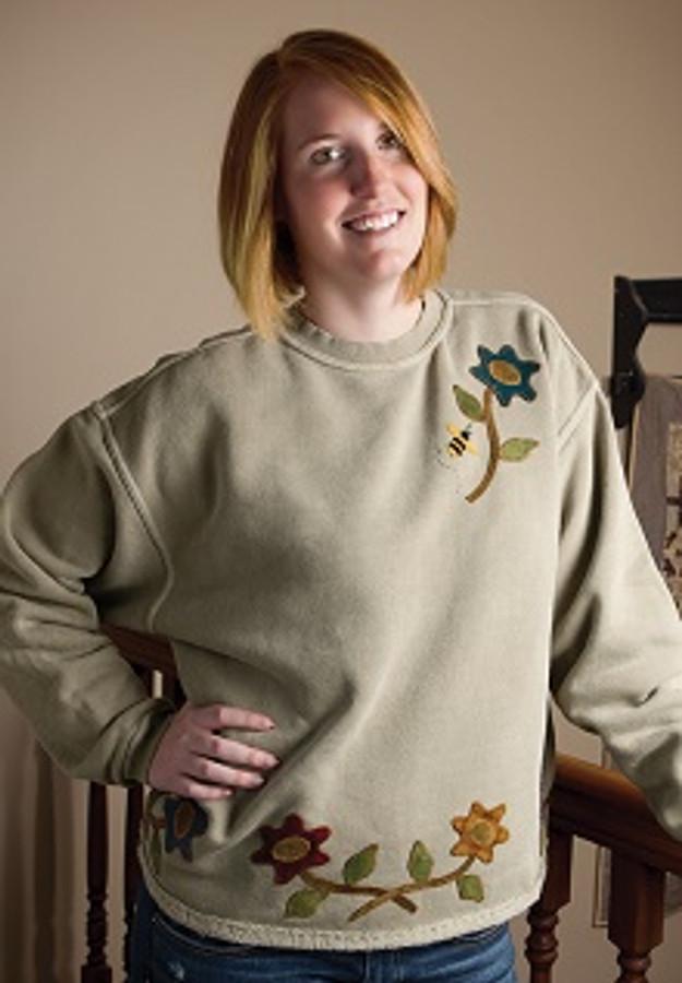 Wool Applique Sweatshirt Lisa Bongean