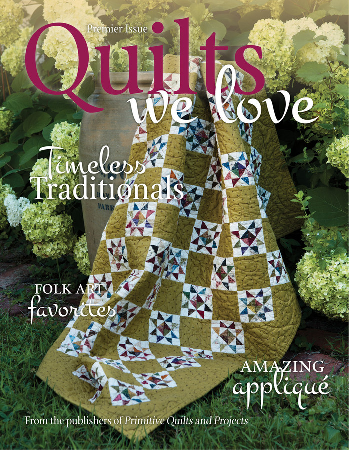 **THIS IS A DIGITAL DOWNLOAD**    Our very first issue of Quilts We Love!  We are proud to feature the best quilt projects from the past, from all your favorite designers!   In this first issue:  Phyllis Paul, Julie Hendrickson, Sheryl Johnson, Jan Patek, Lynda Hall, Linda Sawrey, Cheri Payne, Dawn Heese, Jenifer Gaston and Laurel Arestad.  Quilts We Love is published by Homespun Media, LLC...the same folks that bring you Primitive Quilts and Projects Magazine!