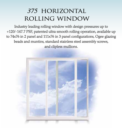 Estate 375 Horizontal Rolling Window  Industry leading rolling window with design pressures up to +120/-147.7 PSF, patented ultra smooth rolling operation, available up to 74x76 in 2 panel and 111x76 in 3 panel configurations, Ogee glazing beads and muntins, standard stainless steel assembly screws, and clipless mullions.
