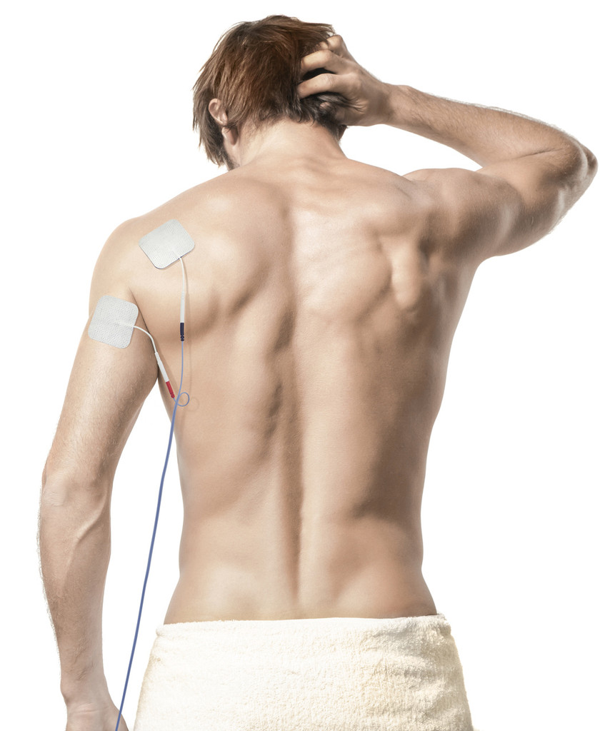 body clock square  tens machine electrodes on back