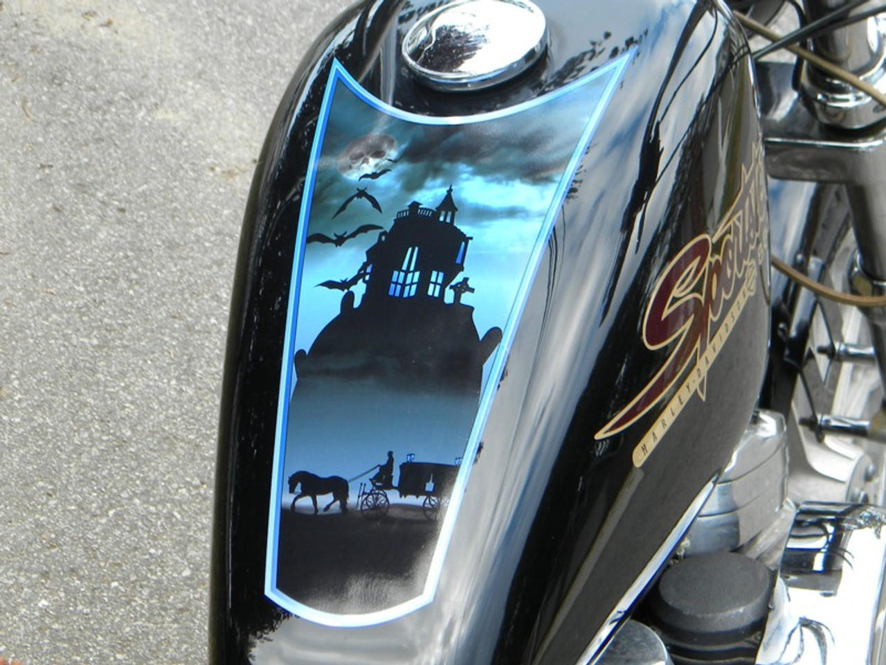 Haunted Funeral Coach Motorcycle Fuel Tank Decal