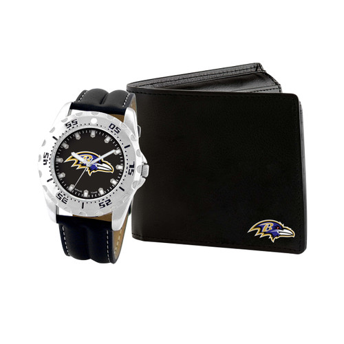 WATCH AND WALLET GIFT SET BALTIMORE RAVENS