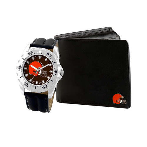 WATCH AND WALLET GIFT SET CLEVELAND BROWNS