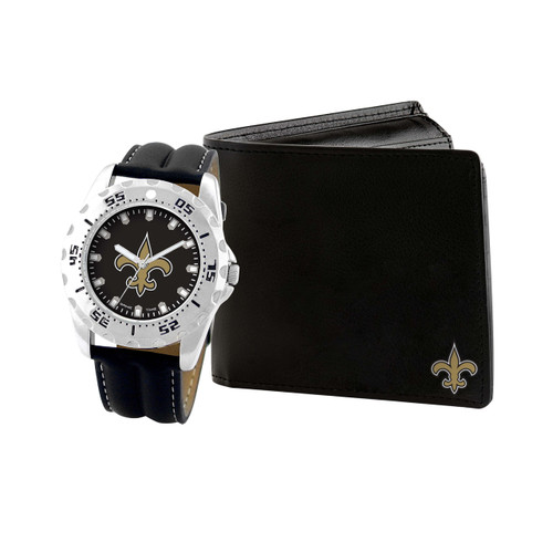 WATCH AND WALLET GIFT SET NEW ORLEANS SAINTS