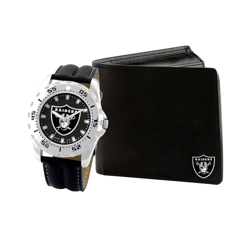 WATCH AND WALLET GIFT SET OAKLAND RAIDERS