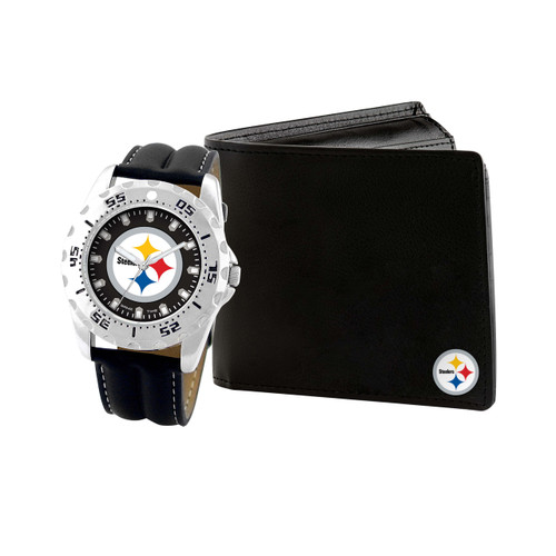 WATCH AND WALLET GIFT SET PITTSBURGH STEELERS