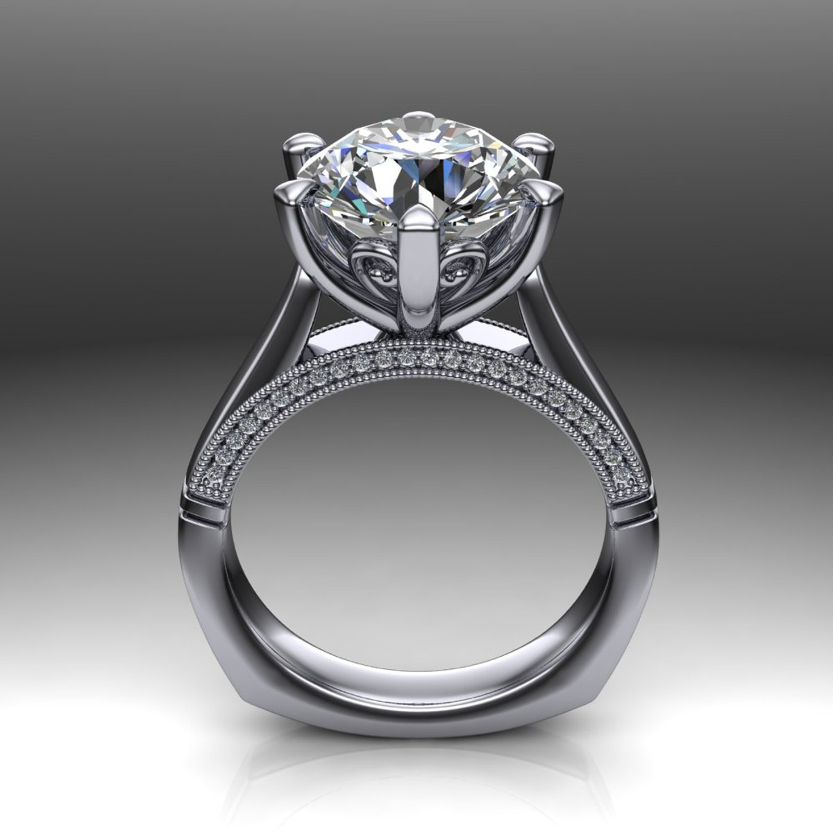 cut shank with edge ring solitaire rings gold squared setting white in oval engagement cathedral diamond and