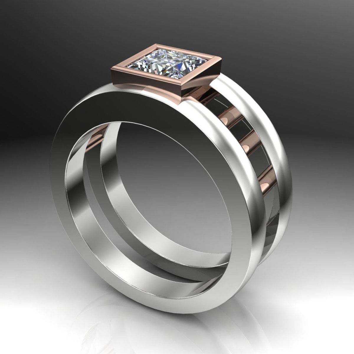 gay engagement ring dual band with moissanite side view - Gay Wedding Ring
