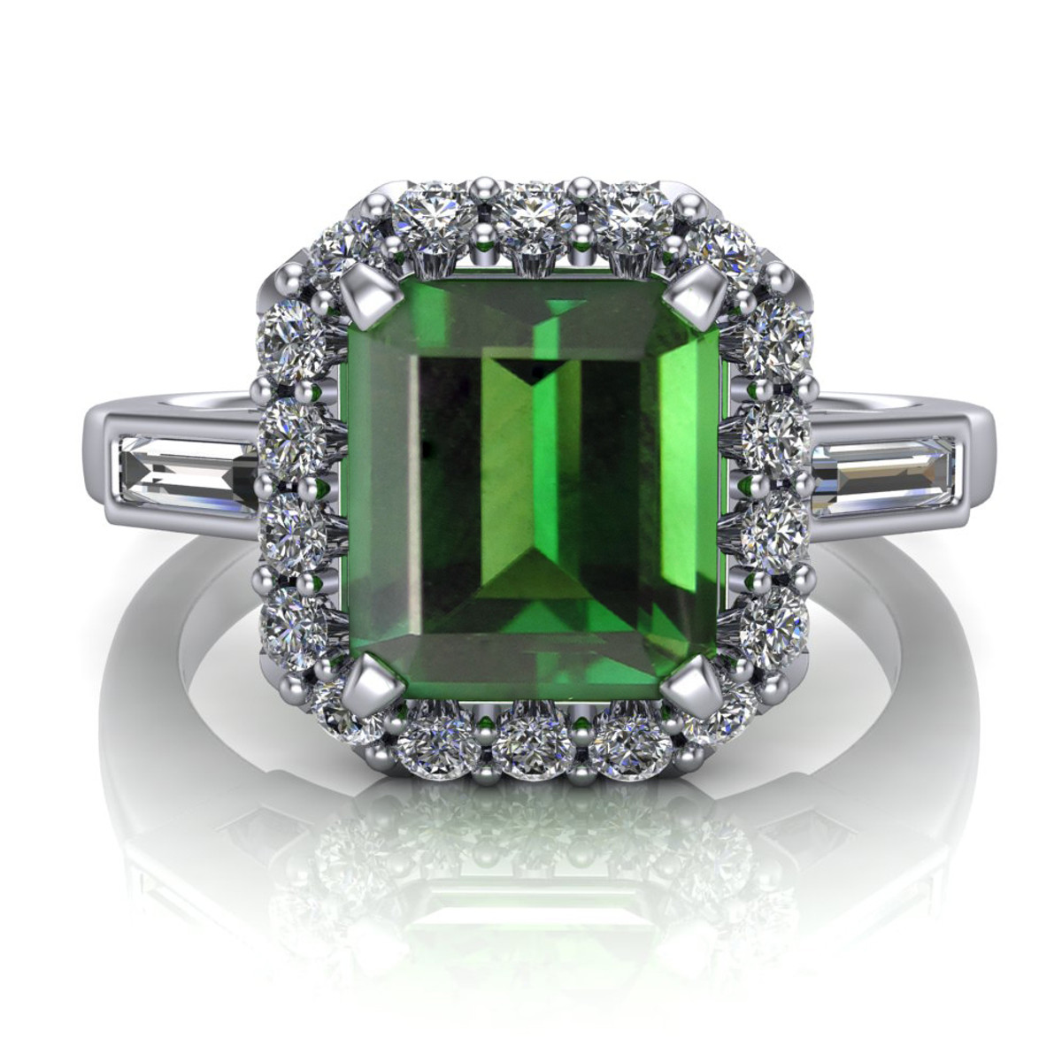 band jewelry bezel tourmaline tournaline solitaire rare and accented products gold ring cut setting cushion green with diamond rings set earth engagement diamonds
