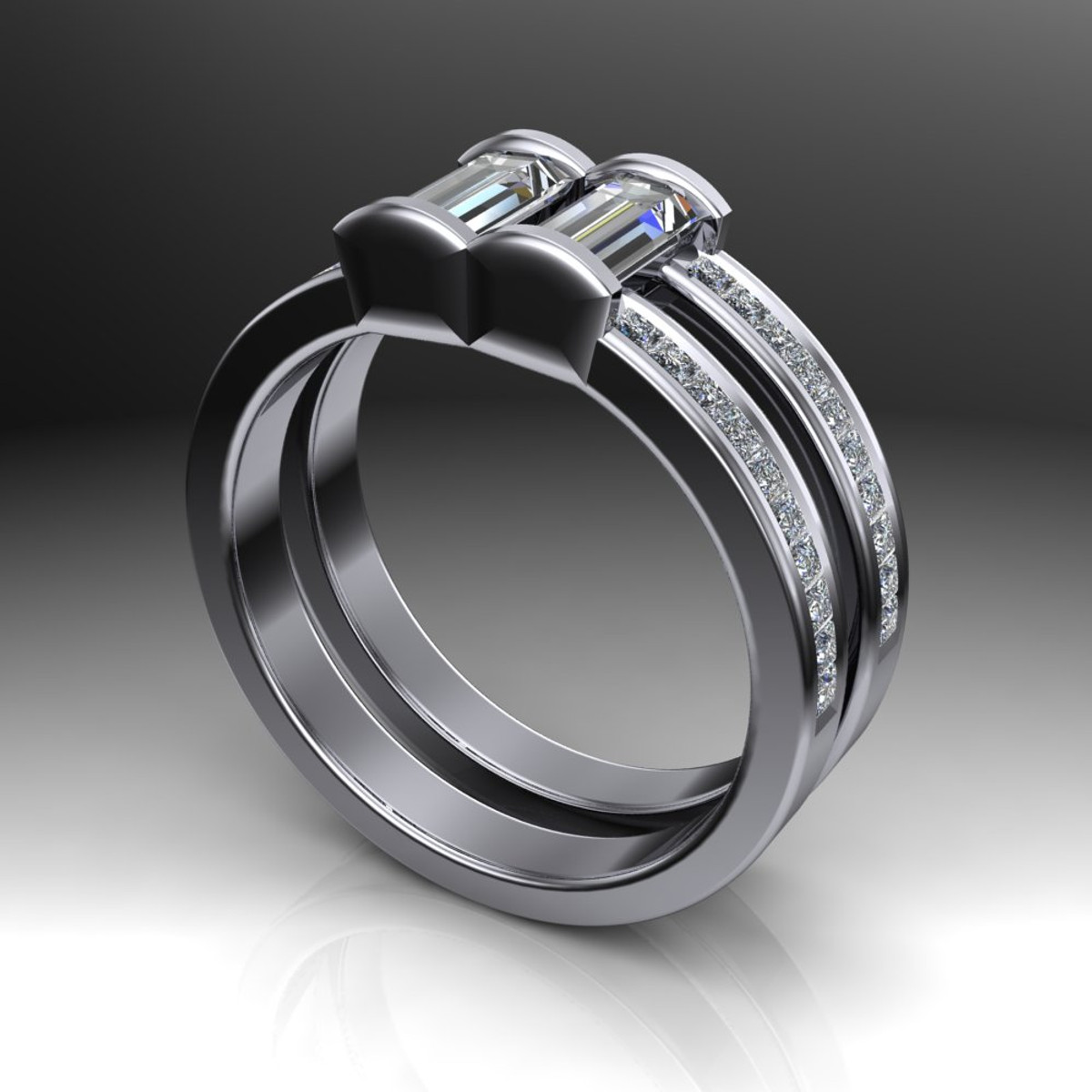 Mens Gay Engagement Ring Two Stone Diamond Ring Double Band