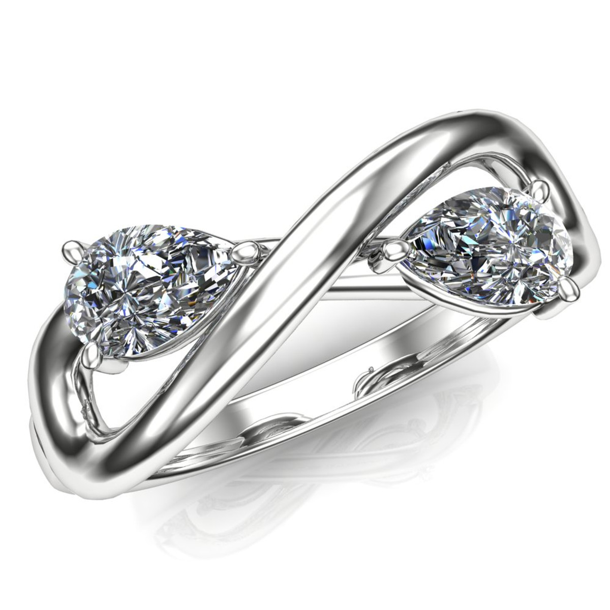 Diamond Engagement Ring Two Stone with Infinity Symbol