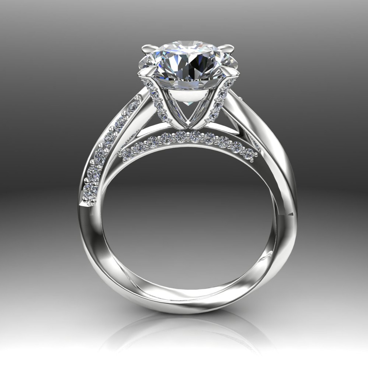 gold solitaire in engagement prong platinum cathedral white brilliant ring a rings round six pave enr trellis