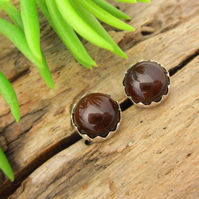 Fire Agate Cabochon Stud Earrings | Brown
