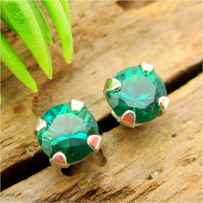 Emerald Stud Earrings | Lab Grown