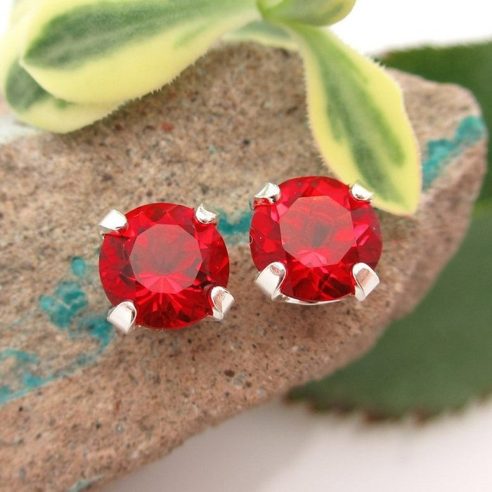 Helenite Stud Earrings | Red | Lab Grown