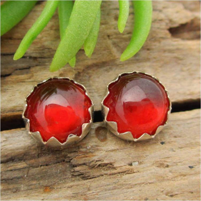 Hessonite Garnet Cabochon Stud Earrings