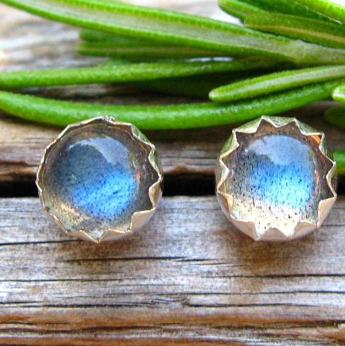 Labradorite Cabochon Stud Earrings