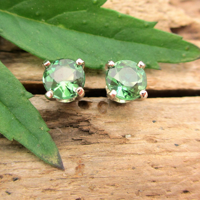 Medium Green Tourmaline Stud Earrings, Limited Edition