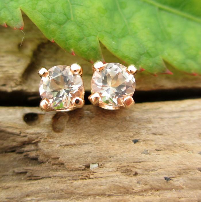 Morganite Stud Earrings | Pale
