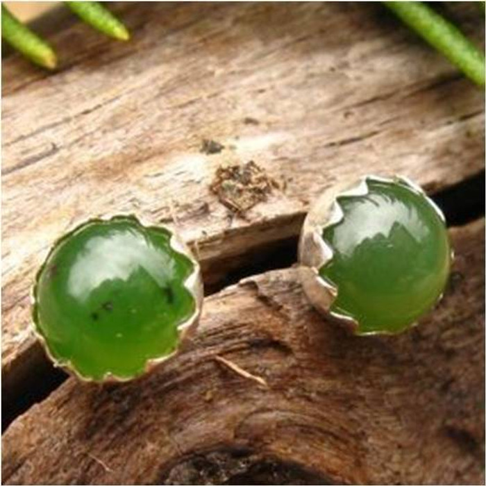 Jade Cabochon Stud Earrings