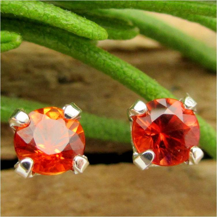 Orange Sapphire Stud Earrings