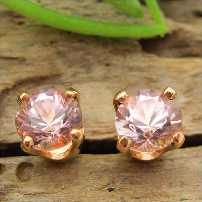 Pink Tourmaline Stud Earrings, Small 4mm Lot 3, Limited Edition