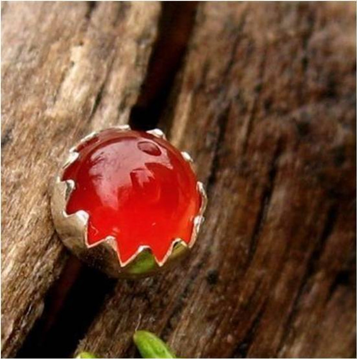 Red Carnelian Cabochon Stud Earrings