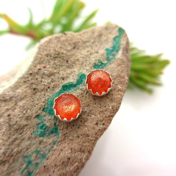 Sunstone cabochon stud earrings
