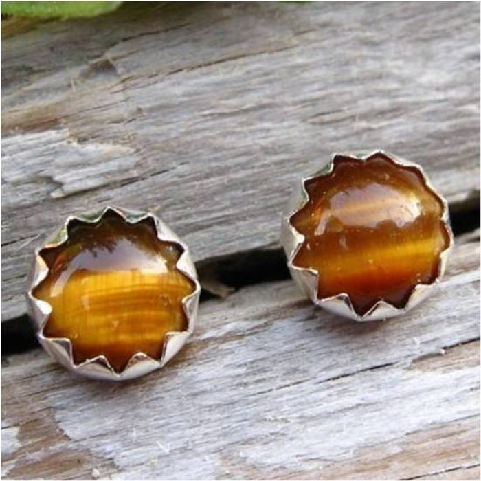 Tigereye Cabochon Stud Earrings