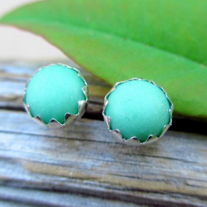 Variscite Cabochon Stud Earrings
