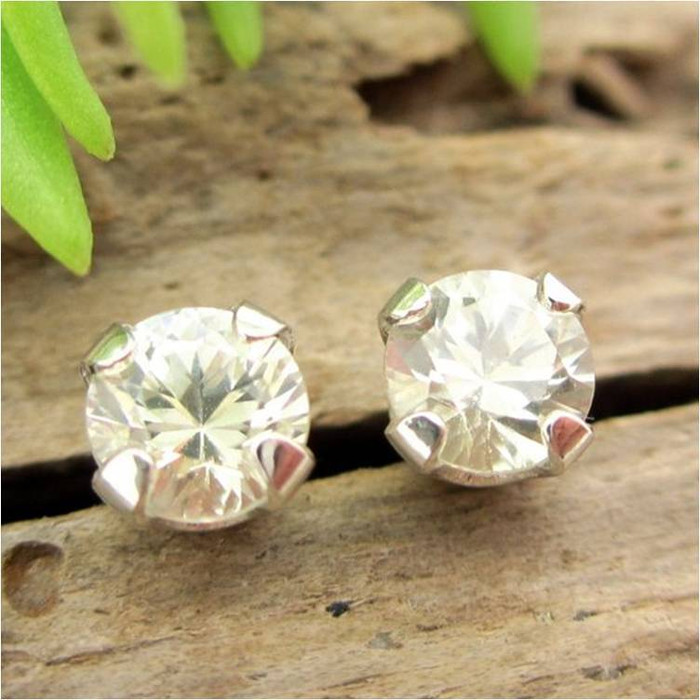 Warm White Sapphire Stud Earrings