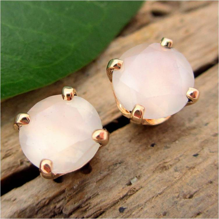 White Moonstone Stud Earrings