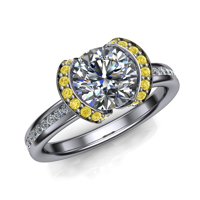 Yellow Half Halo Engagement Ring  Round 1ct Diamond