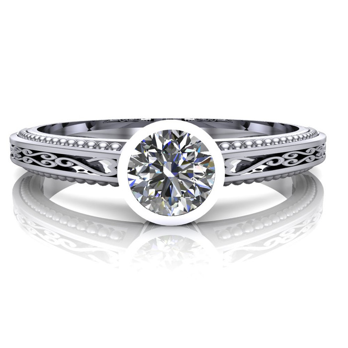 Filigree Bezel Engagement Ring | Round 1/3 Carat Diamond