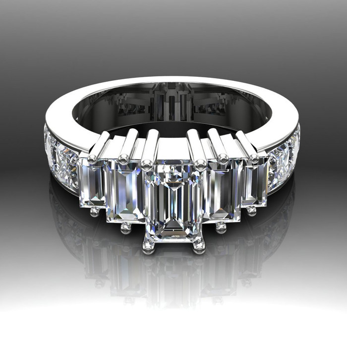 White City Engagement Ring | Emerald Cut .75ct Diamond