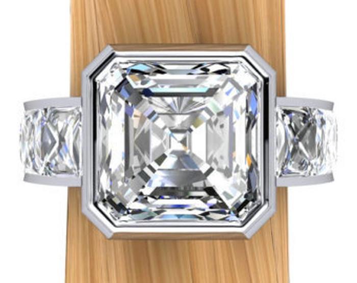 Unbroken Bling Men's Ring | Asscher 3ct Diamond, 5ct Total