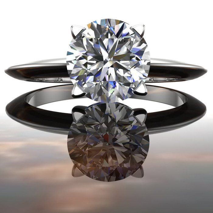 Solitaire Edge Engagement Ring | Round 1 Carat Diamond