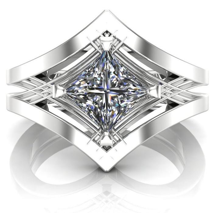 Art Deco Ancient Geometry Engagement Ring | Square .7ct Diamond
