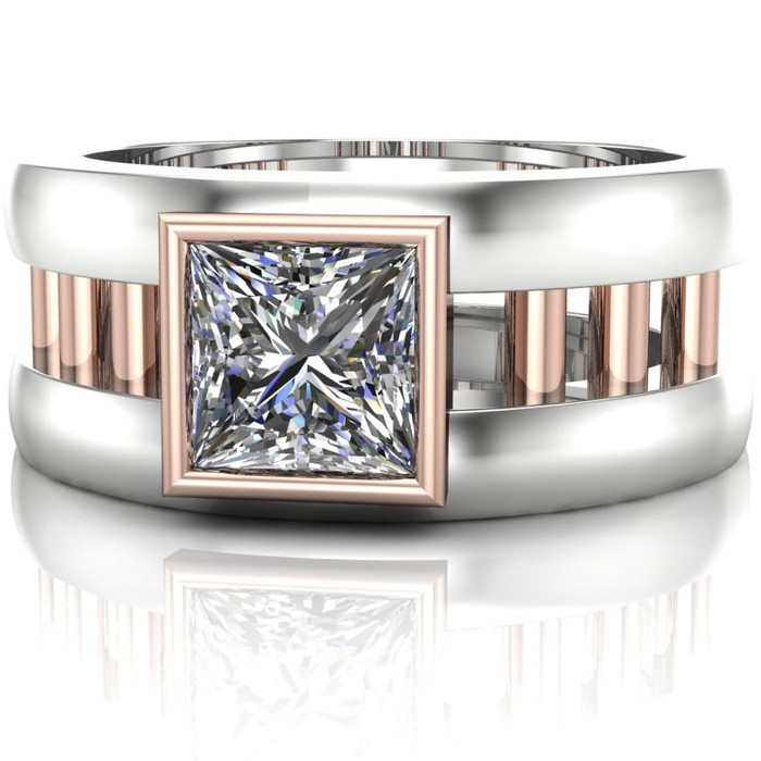 Gay Engagement Ring Dual Band with Moissanite center view