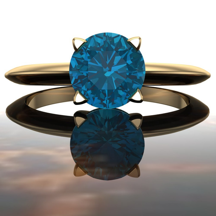 London Blue Topaz Ring in 14k Recycled Gold, Solitaire Prong Setting with Knife Edge Band, Stacking