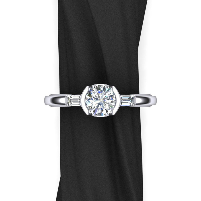 Narrow Half Bezel Engagement Ring | Round 1ct Diamond