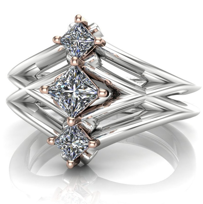 Nyota | Sci-Fi 3 Stone Princess Diamond Engagement Ring