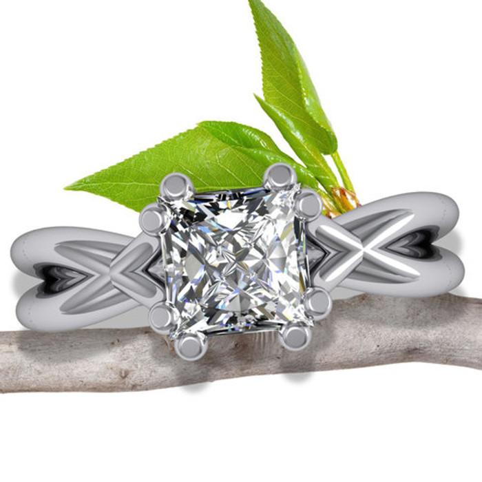 X Split Band Engagement Ring   Princess 1/2ct Diamond