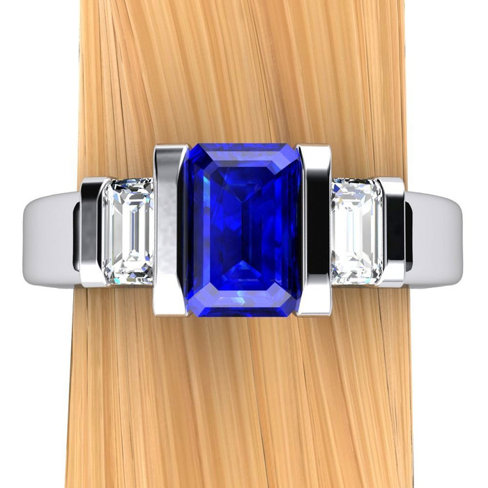 Gemstone Engagement Ring | Emerald Cut Blue Sapphire