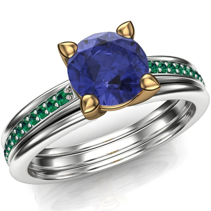 Tanzanite and Emerald Ring in Two Tone 14k Gold