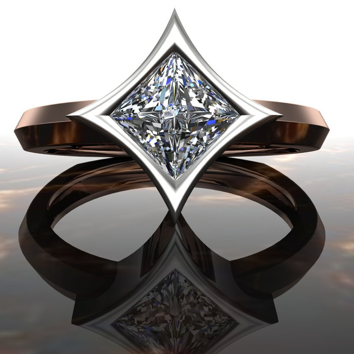 Diamond Engagement Ring | Dramatic Star Bezel Setting
