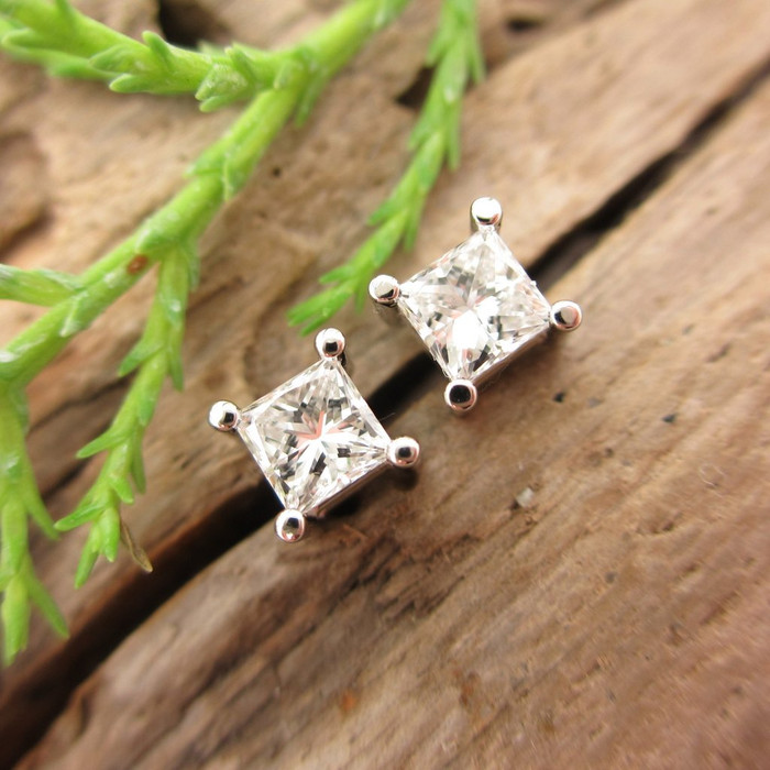 diamond princess earrings cut platinum w stud union