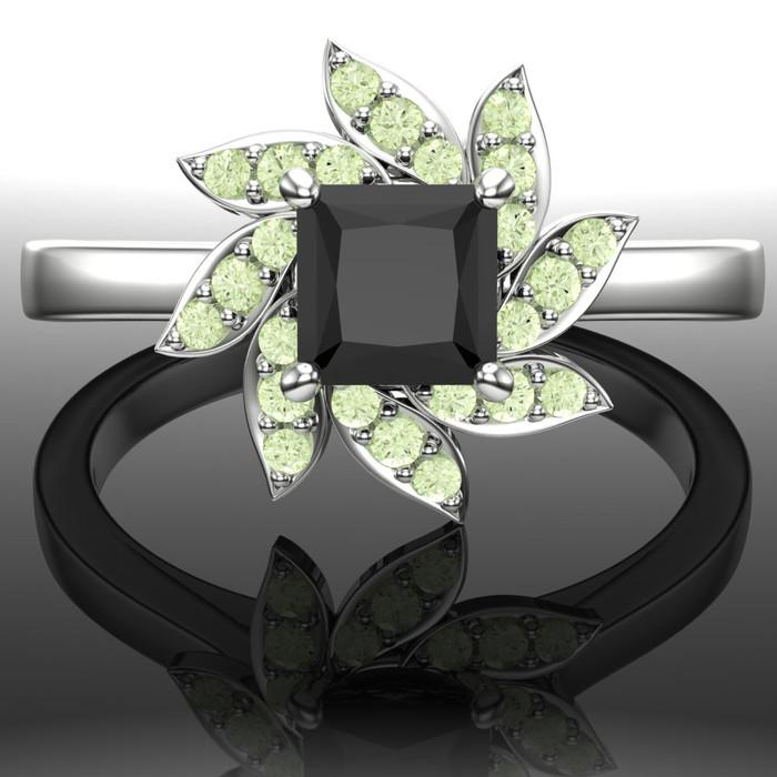 Black Diamond Engagement Ring Halo
